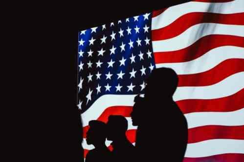 American flag and people - Brett Sayles